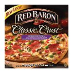 Red Baron Classic Crust supreme pizza with sausage, green and red peppers, pepperoni, and onions Center Front Picture